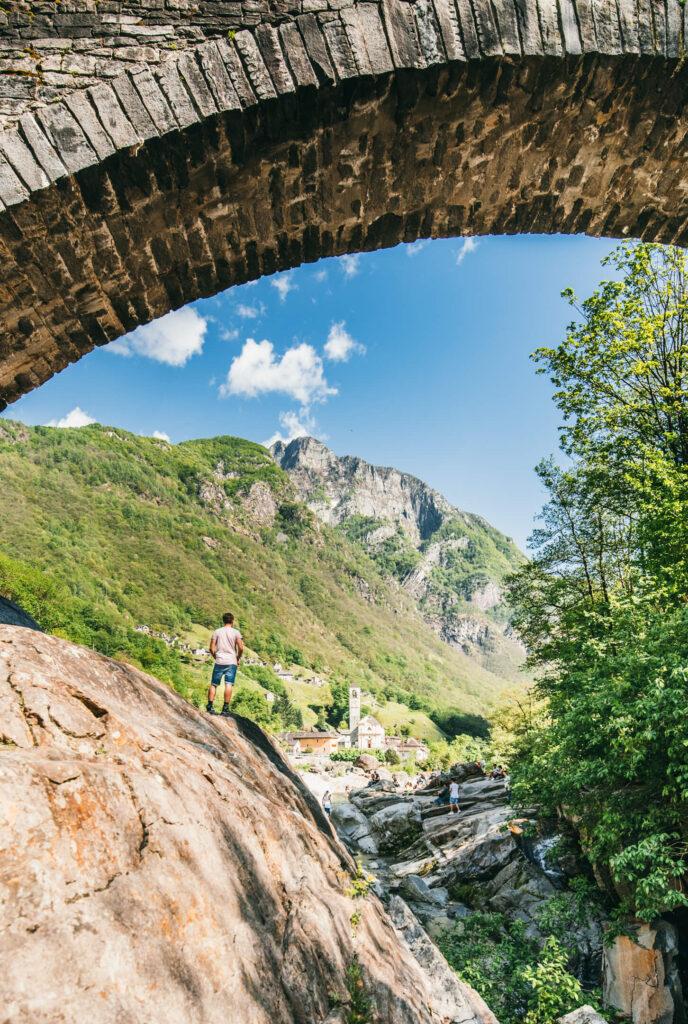 switzerland ticino verzasca-valley hiking bridge mountain man church