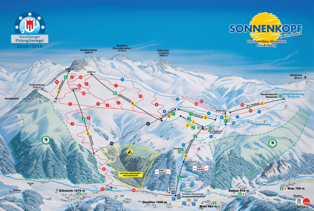 vorarlberg sonnenkopf arlberg klostertal skiing mountain piste snow panorama map