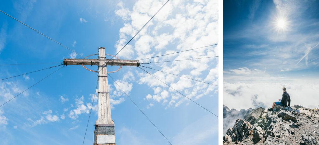 vorarlberg lünersee schesaplana hiking rätikon clouds mountain man peak cross