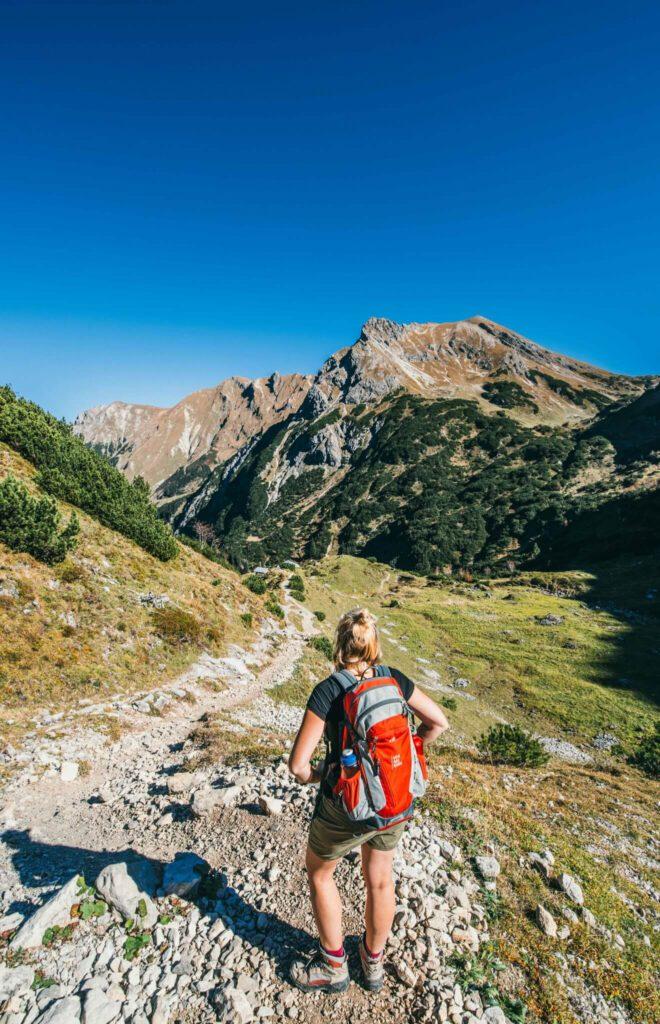 vorarlberg kleinwalsertal widderstein hiking mountain woman