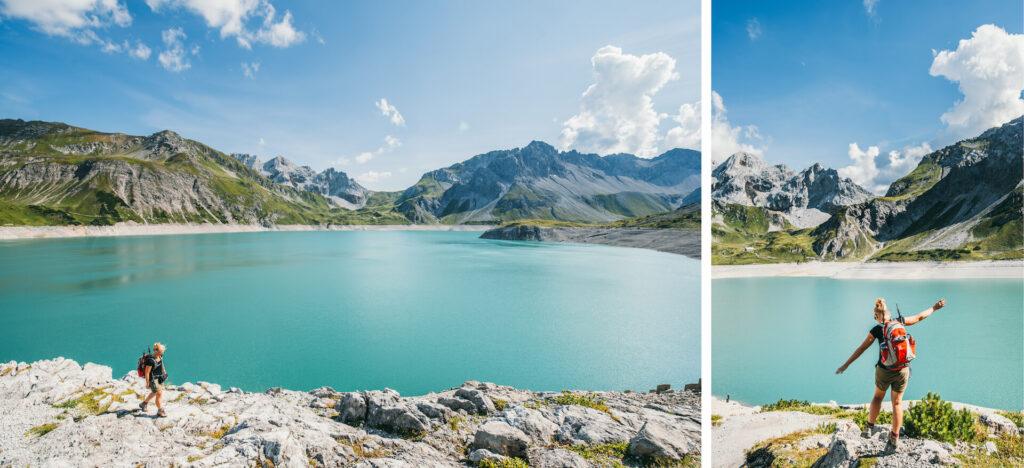 vorarlberg lünersee hiking lake rätikon mountain woman clouds