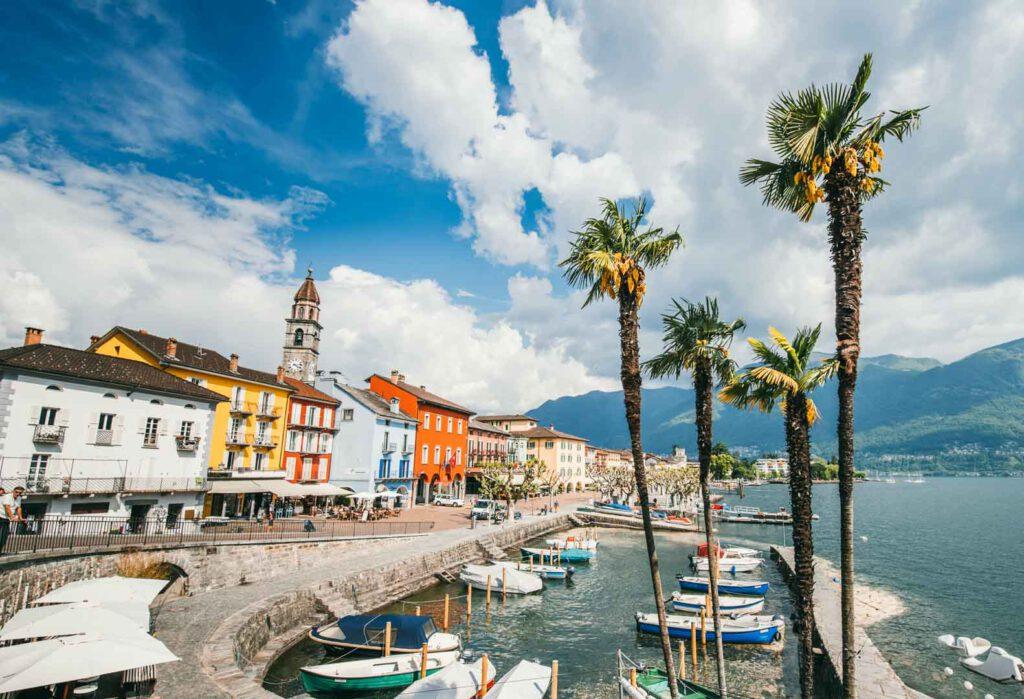 schweiz tessin lago-maggiore see ascona promenade palme