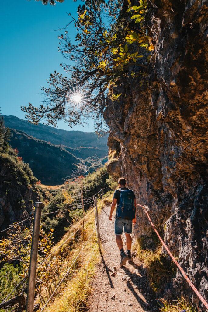vorarlberg kleinwalsertal widderstein hiking mountain man sun