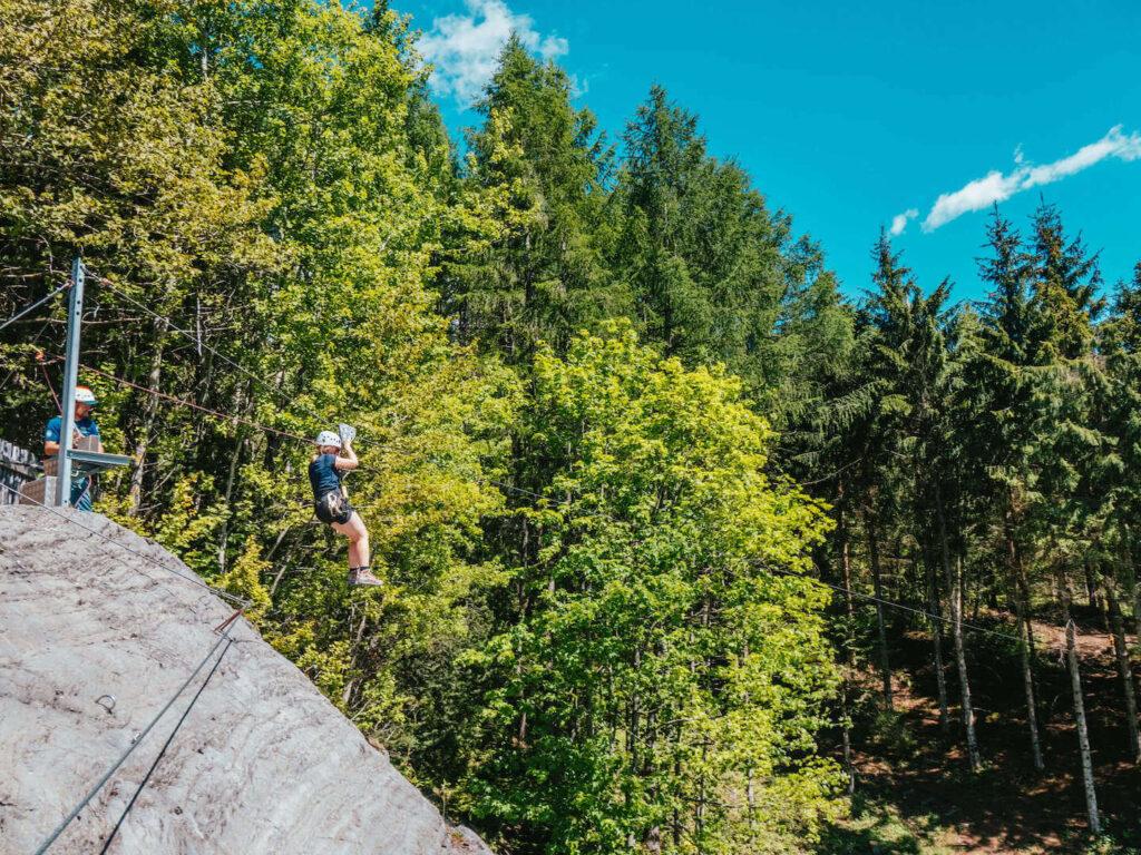 vorarlberg montafon latschau via-ferrata-course via-ferrata golm woman trees