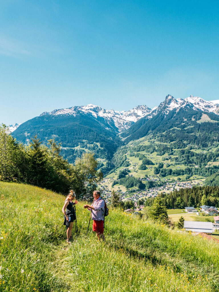 vorarlberg montafon bartholomäberg hiking bees schruns spring lawn