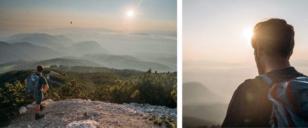 südtirol dolomiten eggental berge wandern sonnenuntergang weißhorn mann