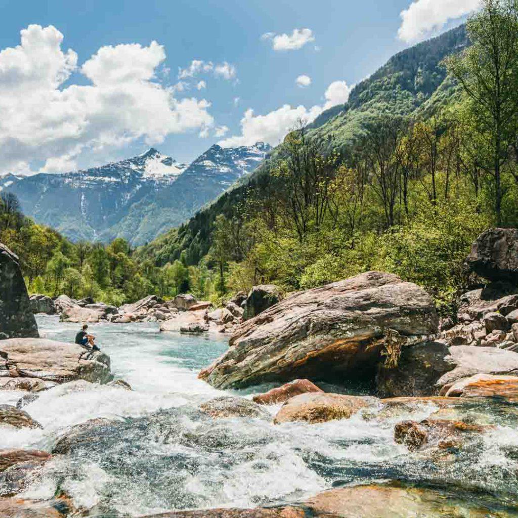 switzerland ticino bavona-valley river rock mountain hiking man