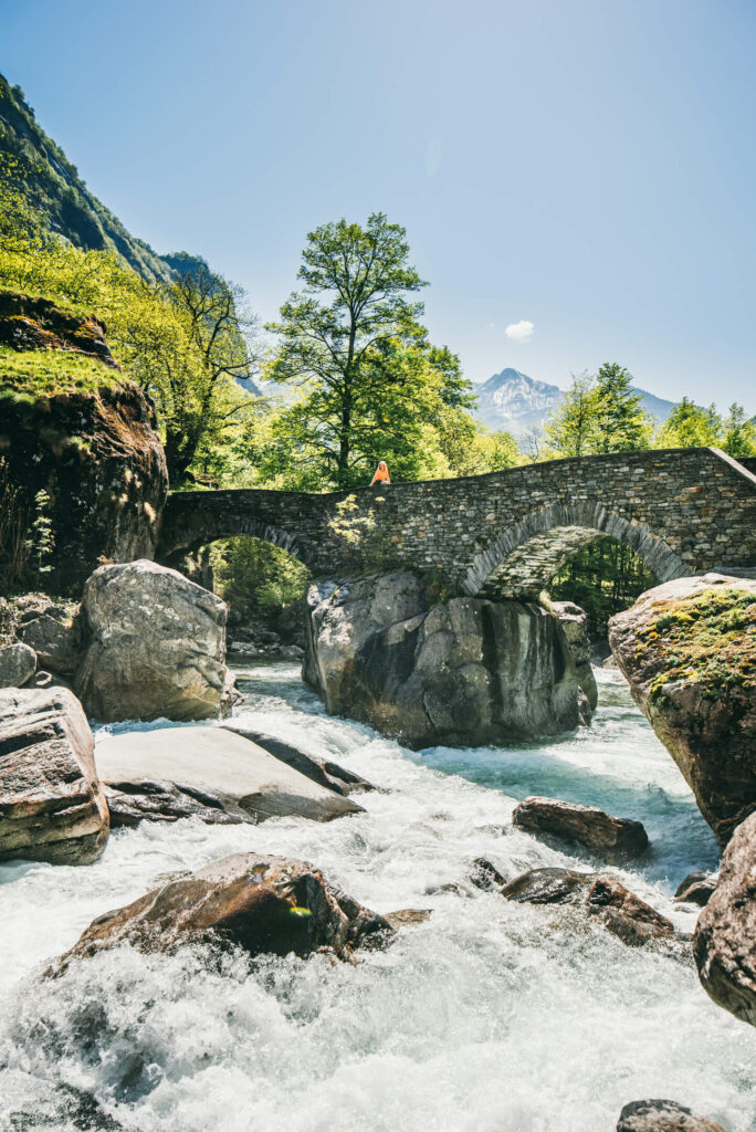 switzerland ticino bavona-valley river water bridge rocks mountain