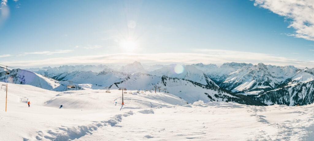 vorarlberg diedamskopf bregenzerwald skiing winter snow mountain snowboard panorama
