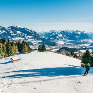 vorarlberg rheintal frastanz ski-fahren winter schnee berge himmel hütte piste