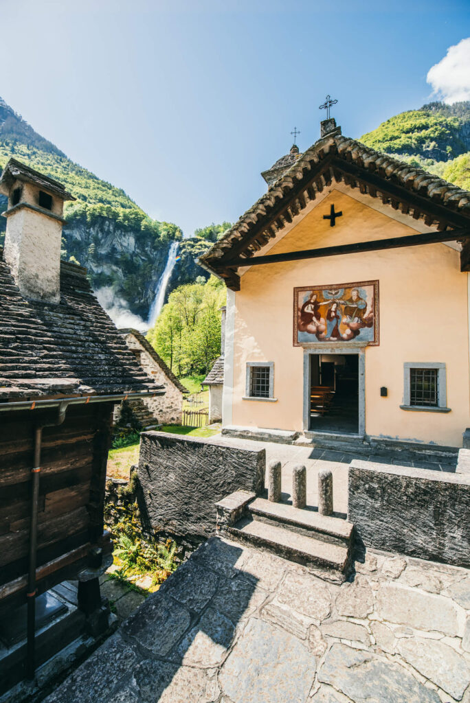 switzerland ticino bavona-valley foroglio river church house waterfall mountain