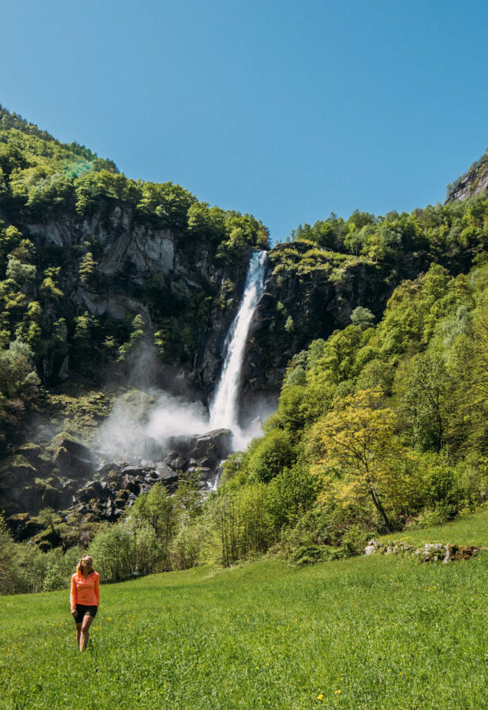 switzerland ticino bavona-valley foroglio woman waterfall mountain