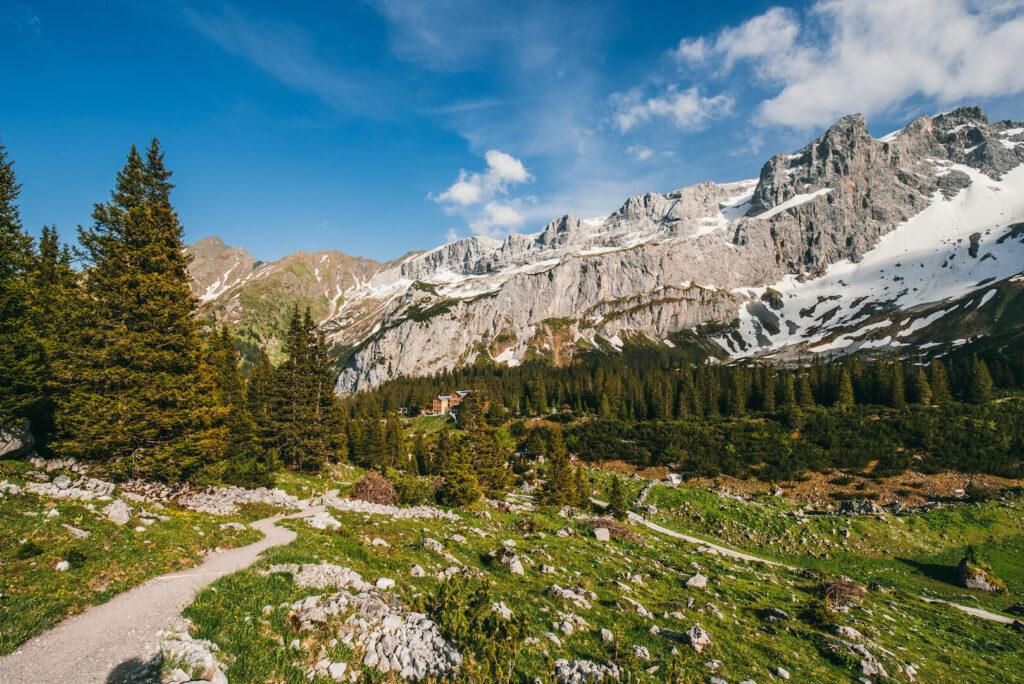 vorarlberg gauertal hiking golm montafon snow lindauer-hütte mountains sun