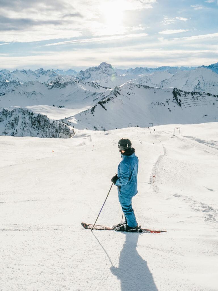 vorarlberg diedamskopf bregenzerwald skiing winter snow mountain man piste ski
