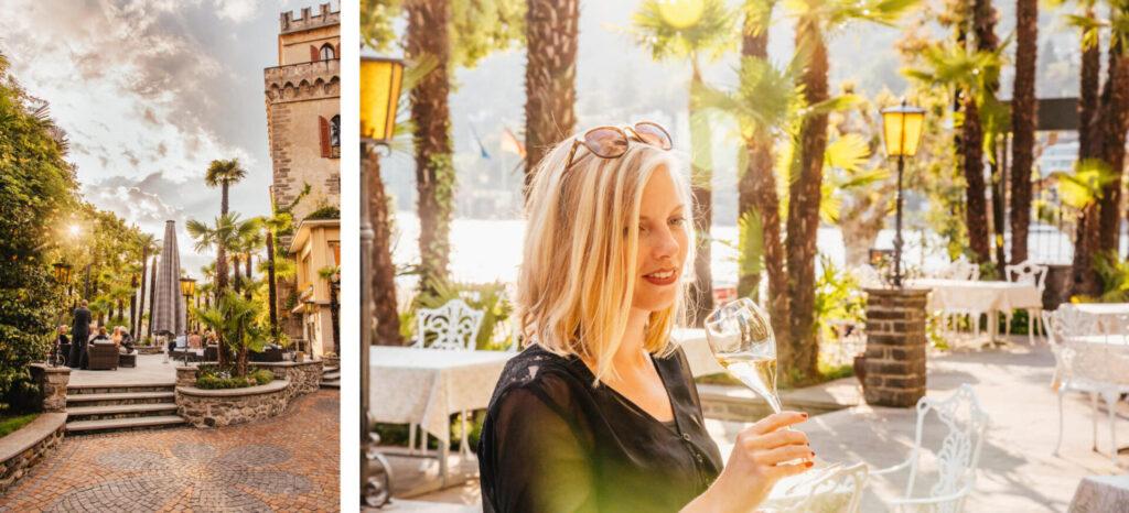schweiz tessin ascona romantik-hotel hotel castello palme frau wein
