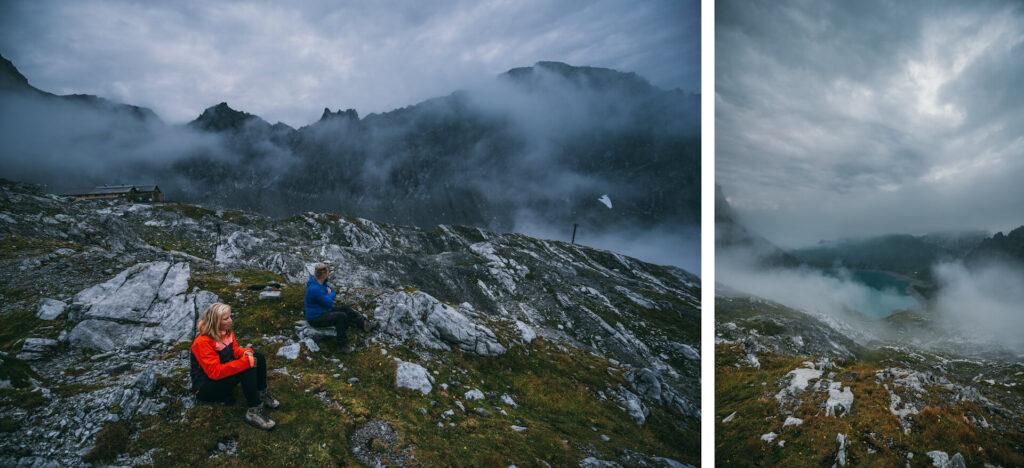 vorarlberg lünersee hiking rätikon mountain night woman clouds totalphütte hut man