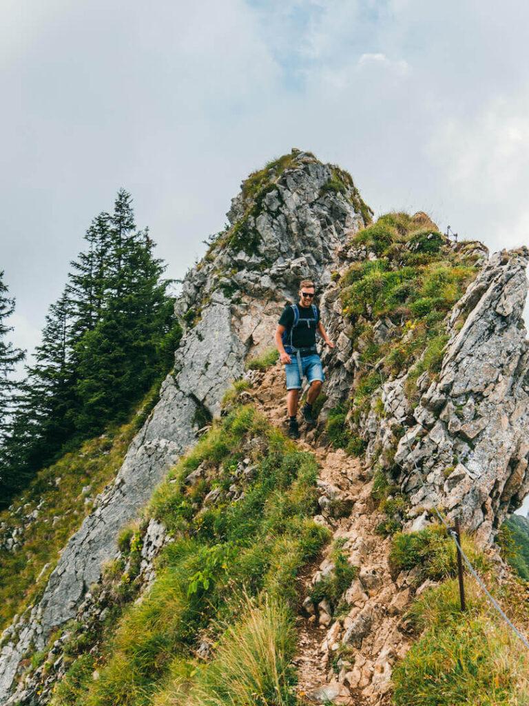 vorarlberg bregenzerwald bezau winterstaude hiking clouds trees path man