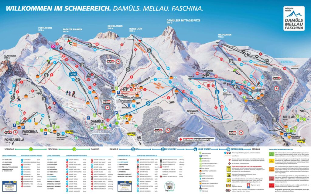 vorarlberg grosses-walsertal faschina skiing winter mountain snow map