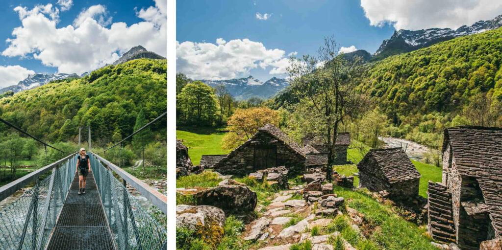 switzerland ticino verzasca-valley woman bridge mountain house