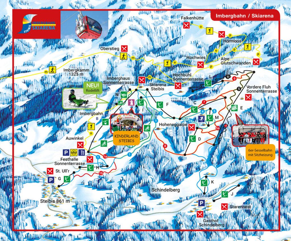 allgäu bayern steibis imbergbahn oberstaufen skigebiet ski-fahren winter schnee karte