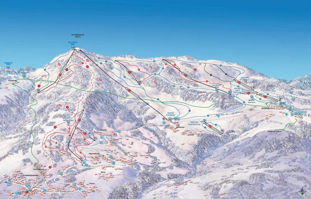 vorarlberg bödele schwarzenberg bregenzerwald skiing winter mountain map