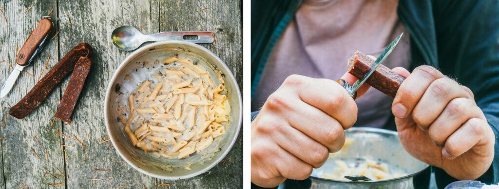schweiz tessin bavona-tal kocher essen pause wurst messer
