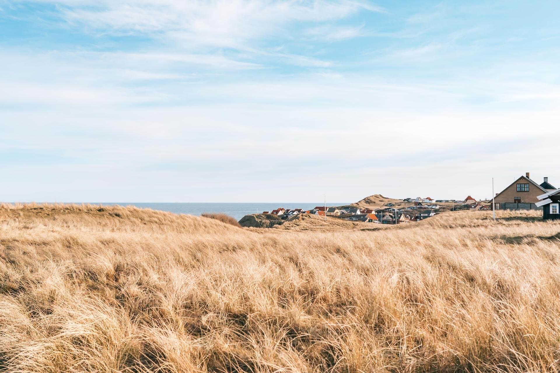 denmark coast sea dune north-sea rubjerg-knud lighthouse village hiking